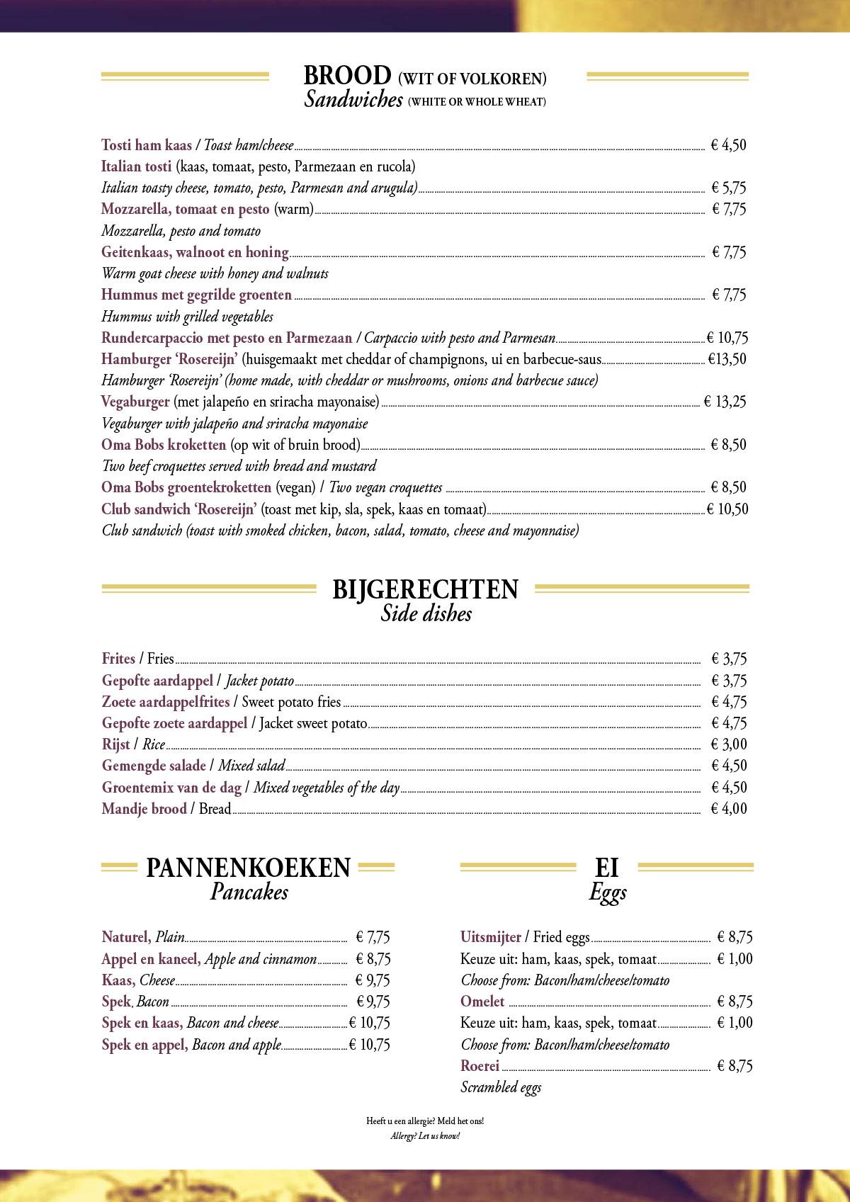 Lunchmenu & Broodjes | Eetcafe Rosereijn nabij de Jordaan in Amsterdam Eetcafe Rosereijn nabij de Jordaan in Amsterdam